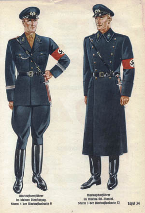A page from a uniform catalogue presents illustrations of uniforms for a lieutenant and a section leader/sergeant in the SA Marine unit. The catalogue was printed prewar and prior to the dissolution of the SA (Sturmabteilung) in 1934 after its purge by Hitler and the SS.