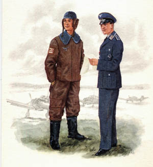 A uniform catalogue illustration shows a pilot lieutenant in a protective flying suit and a staff sergeant of the Signal Corps wearing his dress uniform. In the background the artist has included renderings of three Stuka aircraft. The pilot's sleeve indicates he has been credited with downing two enemy aircraft and sunk one naval vessel. The sergeant wears the Iron Cross, both second and first class indicated.