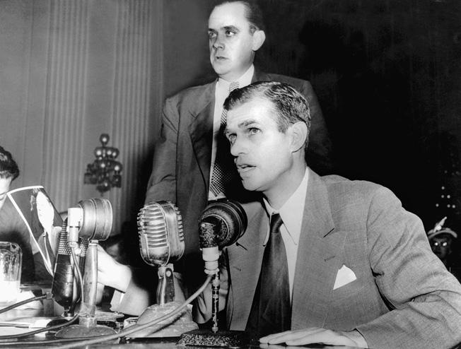 Alger Hiss, former U.S. State Department official, was indicted by a grand jury for perjury after Whitaker Chambers, a former Soviet spy working in Washington D.C., told the House Un-American Activities Commission that Hiss was a spy.