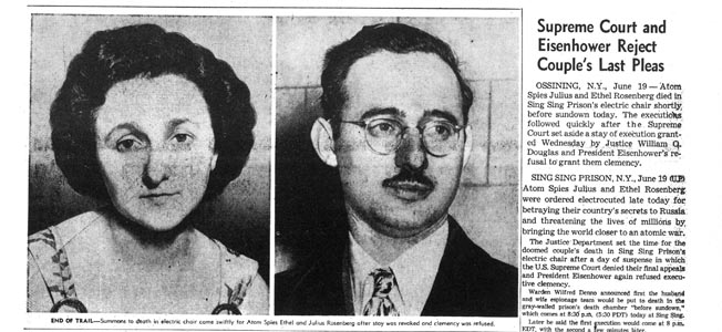 ROSENBERG EXECUTION, 1953.  Headline from the Los Angeles Times, 20 June 1953, reporting the previous day's execution of Ethel and Julius Rosenberg for spying.