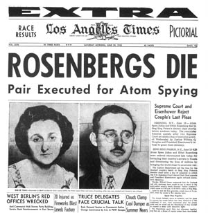 Headline from the Los Angeles Times, 20 June 1953, reporting the previous day's execution of Ethel and Julius Rosenberg for spying.