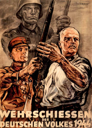 "With a Wehrmacht soldier serving as a backdrop, this wartime poster depicts an SA man handing a rifle to the older civilian at right, who is competing in a marksmanship contest. Trained and outfitted by both the Nazi Party and the German Army, Hitler hoped the Volkssturm, or ""People's Militia,"" would fight to the death to save the homeland."