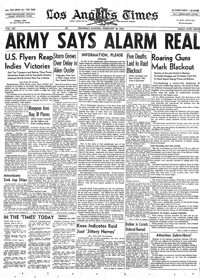 Stories in the local media helped fuel fears shortly after the so-called Battle of Los Angeles.