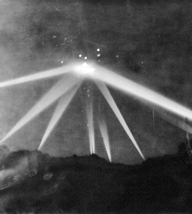 """This photo published in the Los Angeles Times, February 26, 1942 edition, is the only one taken of the """"battle,"""" and has been used by conspiracy theorists as proof of the existence of UFOs. However, the photo was heavily modified prior to publication."""