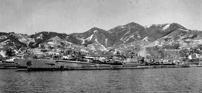 The Japanese submarine I-47, photographed at the Kure Naval Yard at war's end, was typical of the subs that prowled the West Coast.