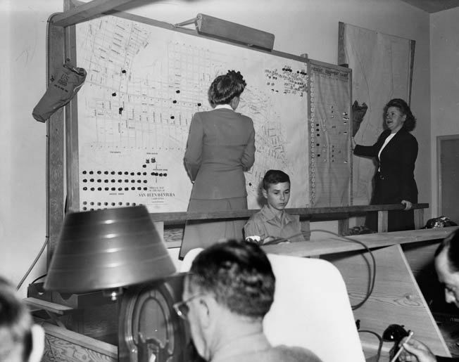 Civil defense measures were instituted to reduce panic. At this control center in Ventura, California, in 1943, workers prepare a large city map that would identify road blocks, unexploded bombs, poison gas attacks, and other possible war-related calamities.