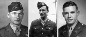 Left to right: Private Anthony J. Hitztaler was murdered at Hémevez on D-Day by a bullet to the nape of his neck. Elsworth M. Heck was captured after the brief firefight in the woods and was one of the men taken back to the woods and executed. Second Lt. Robert W. Shutt was not murdered at Hémevez but was killed while attempting to escape in Rennes on July 6, 1944.