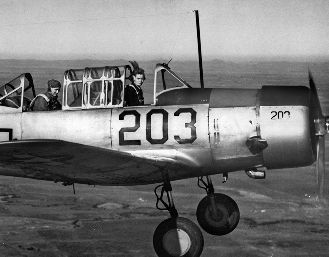 WASP Tilda Winfield on a photographic mission at Frederick, Oklahoma, in an Amy basic trainer A-6.
