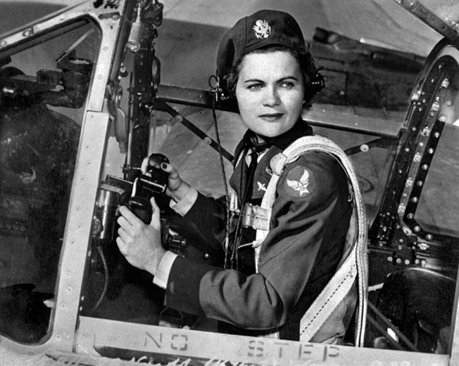 WASP Ruth Dailey in a P-38 at Love Field, Dallas.