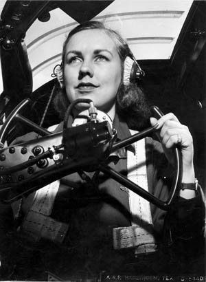 WASP Shirley Slade takes the controls of a B-26 at Harlingen Army Air Field in Texas.