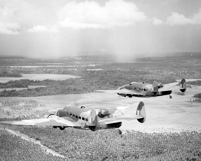 Lockheed Patrol Bomber/Observation (PBO) Hudson aircraft saw widespread use around the world. These PBOs from the New Zealand Observation Group approach Henderson Field on Guadalcanal, May 1943.