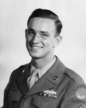 Recently promoted to sergeant, Ray Miller smiles broadly for the photographer in this image taken shortly after his return to the United States in June 1945.