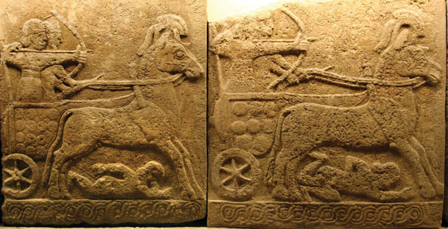 An ancient bas relief is believed to depict a Hittite chariot in combat. The three-man Hittite chariots were no match for the faster and more agile two-man Egyptian chariots at Kadesh.