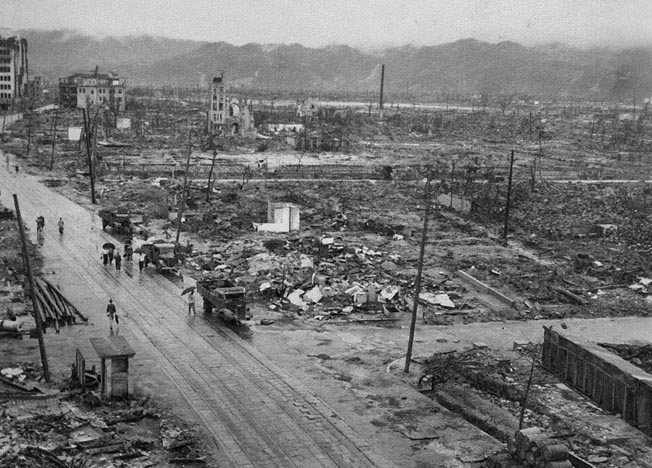 Charles Restifo's photograph of the desolation at Hiroshima. He was one of the first photographers allowed into the destroyed, radioactive city.
