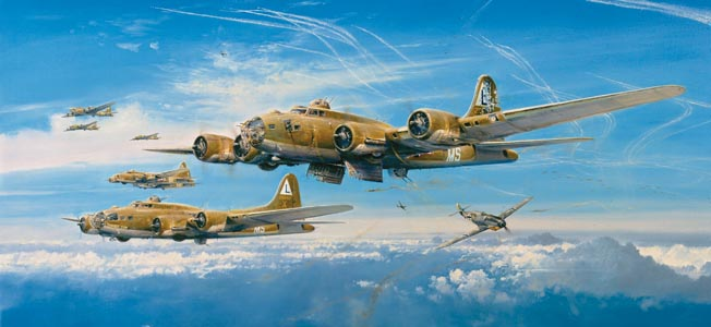 In this painting by Robert Taylor, B-17s return from the August 17, 1943, Schweinfurt raid with German Me-109s in hot pursuit. The raid cost the U.S. Eighth Air Force 60 B-17s and 600 men. Luckily for him, Larry Stevens was still in training at the time of the raid.
