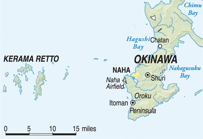 The Kerama Retto island group, lies 15 miles west of Okinawa.