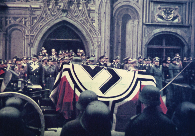 To disguise his role in Rommel's forced suicide, Hitler gave the field marshal a lavish state funeral in Ulm on October 14, 1944. His helmet and marshal's baton lay atop the flag-draped casket.
