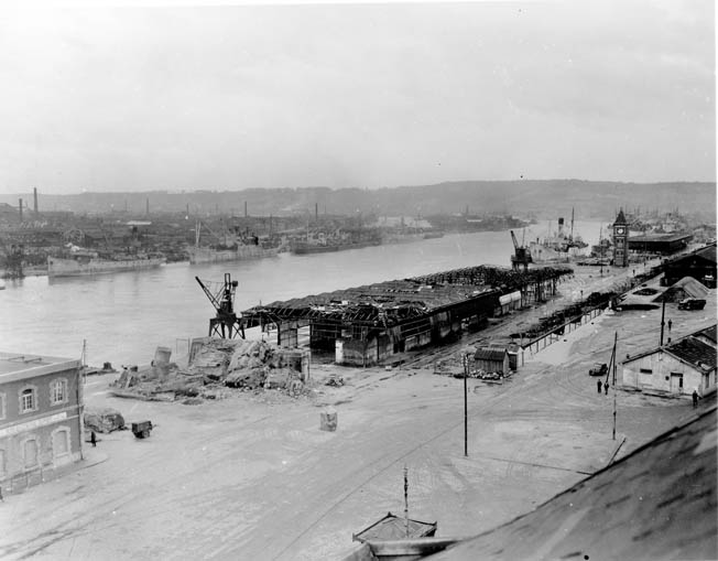 Harbor facilities on the Seine River in Rouen had been some of the most important in France before the war, but constant air raids left the docks in shambles.