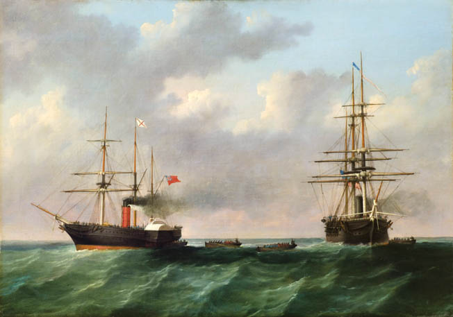 Initiating a major diplomatic flap, Union Navy Lieutenant D.M. Fairfax leads a two-boat boarding party from USS San Jacinto, right, toward the British mail steamer Trent on the afternoon of November 8, 1861.