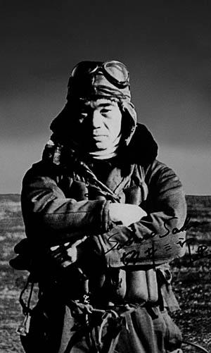 """Japanese """"Zero"""" pilot Saburo Sakai, shot down by eight Dauntless tailgunners."""