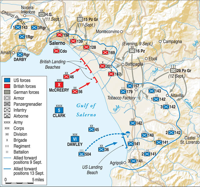 Allied planners tasked the British X Corps with making the main assault at Salerno. To support it, the Allies inserted U.S. Rangers and British Commandos on its left flank and the U.S. VI Corps on its right flank.