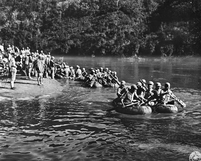 Troops of the 2nd Chinese Army (Y-Force) cross the Nujiang River from the east bank in rubber boats, May 11, 1944. Some 40,000 crossed on the first day, with 60,000 more to follow.