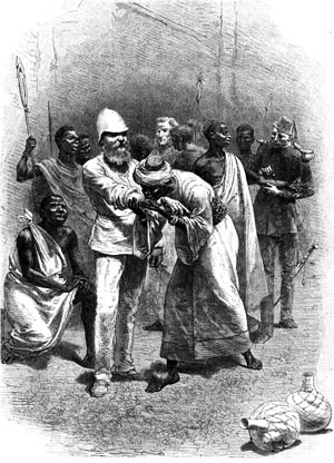 Baker making blood pact with King Rionga during his command of expedition mounted by Khedive of Egypt to suppress slavery near Albert Nyanza, 1872. Wood engraving London c.1880