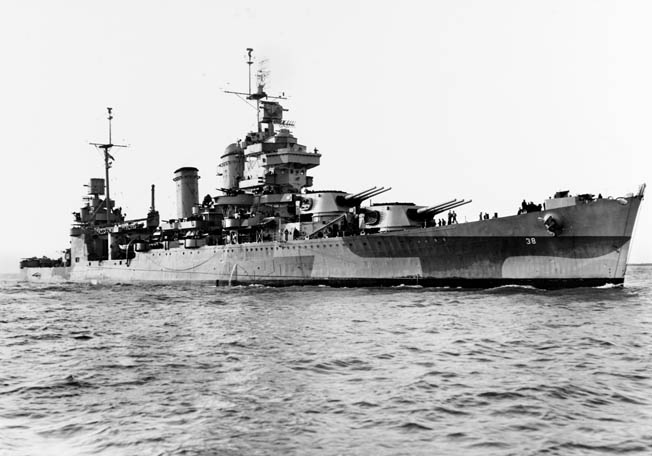 The cruiser USS San Francisco pounded the enemy during the opening phase of the battle. As the confused melee wore on, its gunners mistakenly fired on one of their own destroyers, USS Farenholt.