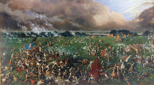 Santa Anna pursued Houston's ragtag army, which had grown to about 1,180 men, and devised a trap in which three columns of Mexican troops would converge on the Texan force and destroy it.