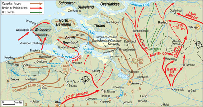 In the autumn of 1944, Canadian troops mounted an offensive against German positions at the mouth of the River Scheldt. The Canadians struck at multiple points along the East and West Scheldt to secure the area and allow safe passage for Allied supply ships. Without access to the port of Antwerp, miles from the coastline on the banks of the Scheldt, Allied frontline units did not receive a steady supply of matériel.