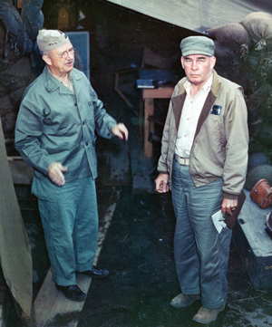 Generals Smith and Schmidt on Iwo Jima.