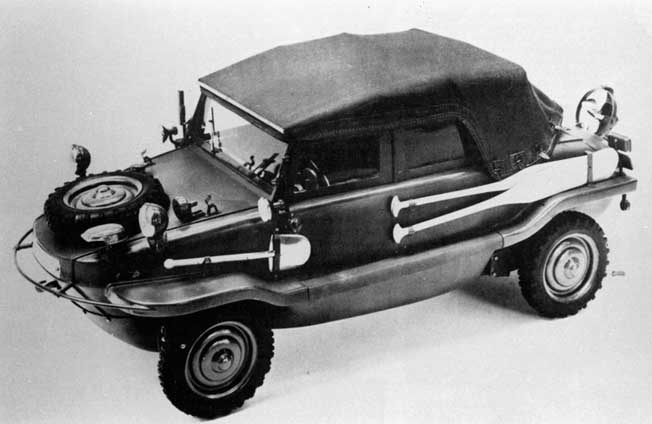 The German Type 166 Schwimmwagen—or Swimming Car—was one of the most versatile military vehicles ever built.