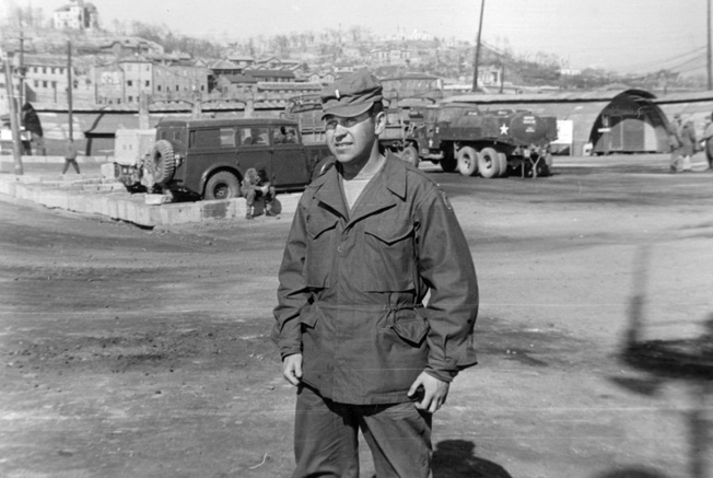 Lieutenant Sevel stands on Inchon beach where he commanded landing operations in September 1950. Sevel commanded a crash boat in the port city.