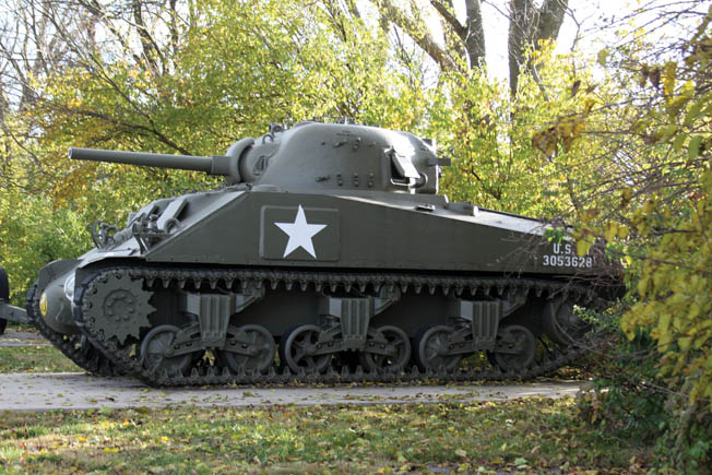 This Sherman tank is one of many vehicles on display that show the mobility of U.S. Army forces over the decades.
