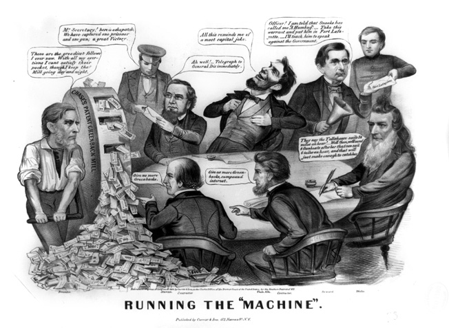 "An 1864 cartoon depicts an incompetent Abraham Lincoln and his cabinet carelessly ""running the machine"" of the nation's war effort."