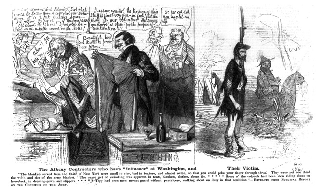 An 1861 cartoon shows chiseling Albany contractors selling shoddy clothes to corrupt government agents. A Union soldier stands guard in rags—an exaggeration, but not much.