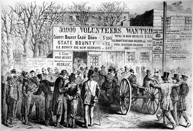 Volunteers throng to a Union recruiting office at the beginning of the war. Many of these same volunteers would receive ill-fitting uniforms, flimsy-soled shoes and misfiring weapons from unscrupulous government manufacturers.