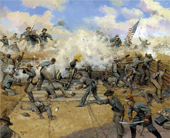 1st Lt. Francis McElroy's gunners of the Washington Artillery fire canister pointblank into oncharging Union forces at Fort Gregg outside Petersburg on April 2, 1865. Painting by Keith Rocco.