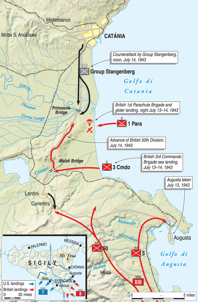 Because the Malati and Primosole Bridges were vital for British forces to advance from the invasion beaches in southeast Sicily to Catania, they were assigned to the crack troops of the 1st Parachute Brigade and No. 3 Commando.