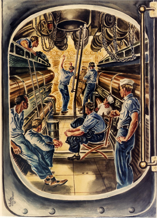 In this 1943 watercolor titled Stand By to Fire by Georges Schreiber, submarine crewmen prepare to fire torpedoes at an enemy ship. The illustration graphically shows the close quarters in which submariners lived and worked.