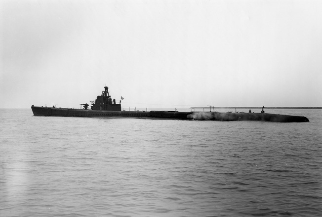 The 308-foot-long USS Seal, photographed in 1943 heading out from California for one of her 12 war patrols.