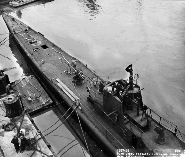 USS Seal, undergoing repairs at the Mare Island Navy Yard, California, March 21, 1943, about the time Ron Smith joined her crew.
