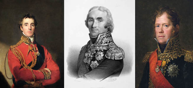 Left to right are Lieutenant General Arthur Wellesley, the Viscount Wellington; Marshal Andre Massena, and Marshal Michel Ney.