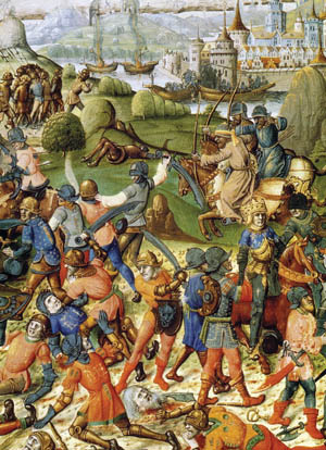 Muslims armed with scimitars kill crusaders in a medieval manuscript.