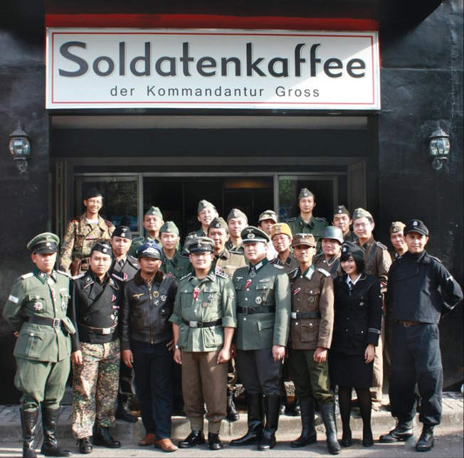 Perhaps even more disturbing than the continued overt homage to Nazism presented by the proprietor of SoldatenKaffee is that its patrons frequently show up for a meal dressed in period uniforms of the German Army