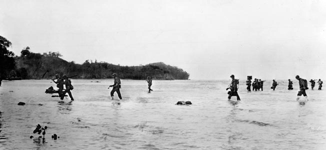 U.S. Marines execute an uncontested landing at Blue Beach on the island of Tulagi near Guadalcanal on August 7, 1942. As the day wore on, Japanese resistance on this small spit of land in the Solomons stiffened considerably.