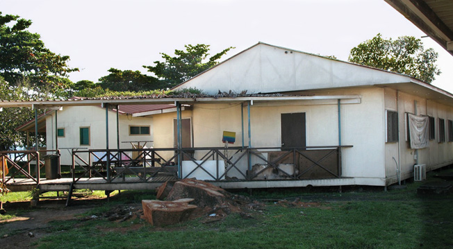 Formerly the 9th Army Field Hospital, this clinic building located on the campus of the National Referral Hospital (NRH) at Honiara is a relic of the American occupation. Most of the hospital was built in 1950 with funding from the Republic of China, Taiwan.