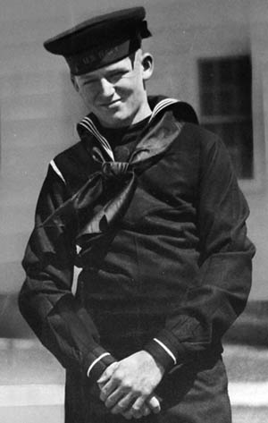 The author's late uncle, Apprentice Seaman Billy Stack, photographed in April 1942 at the Newport (Rhode Island) Naval Training Center. Stack and his boot camp colleagues pooled their money and bought the Brownie camera used to take this picture.