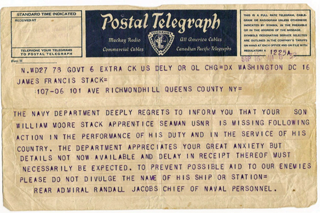The Navy Department telegram sent to the author's grandparents more than a month after Billy Stack died in the Quincy's sinking. Her grandparents were frustrated by the lack of information about what happened to their son.