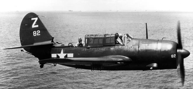 U.S. Navy dive-bomber crews flew the Curtiss SB2C Helldiver late in World War II.